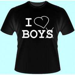 Tričká s potlačou - I Love Boys (dámske tričko)