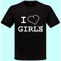 Tričká s potlačou - I love girls (pánske tričko)