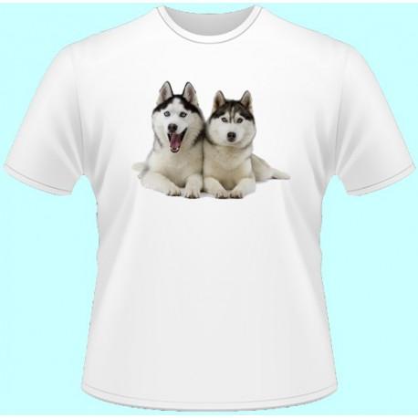 Tričká s potlačou zvierat - Husky (dámske tričko)