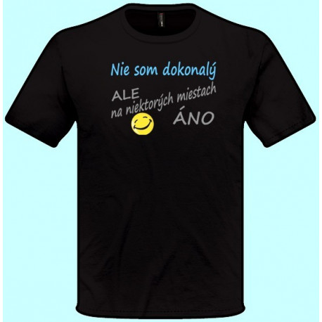 Tričká s potlačou - Nie som dokonalý ale na niektorých miestach áno (pánske tričko)
