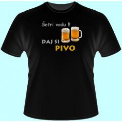Tričká s potlačou - Šetri vodu daj si pivo (dámske tričko)