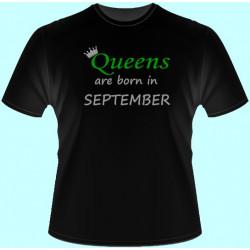 Tričká s potlačou - Queens are born in Váš mesiac (dámske tričko)