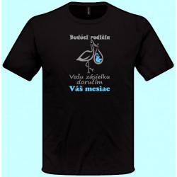 Tričká s potlačou - Budúci rodičia Vašu zásielku doručím v Váš mesiac (pánske tričko)