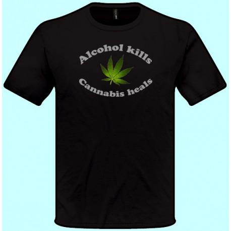 Tričká s potlačou - Alcohol kills Cannabis heals (pánske tričko)