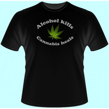 Tričká s potlačou - Alcohol kills Cannabis heals (dámske tričko)