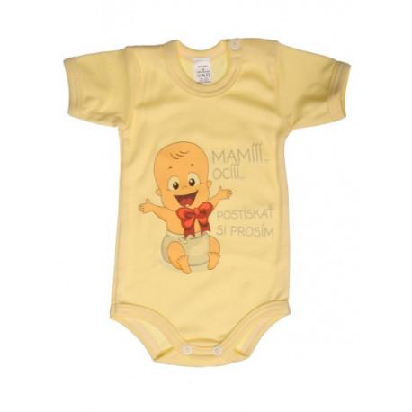 Mami oci postiskať si prosím (žltá) - Detské body (Krátky rukáv)