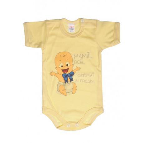 Mami oci postískať si prosím (žltá) - Detské body (Krátky rukáv)