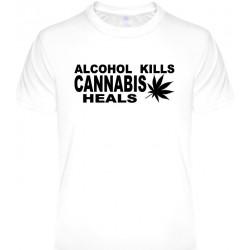 Tričká s nápismi - Alcohol kills Cannabis heals