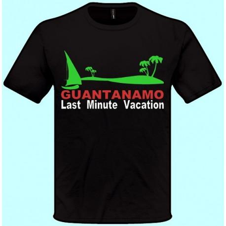 Tričká s potlačou - Guantanamo Last Minute Vacation (pánske tričko)